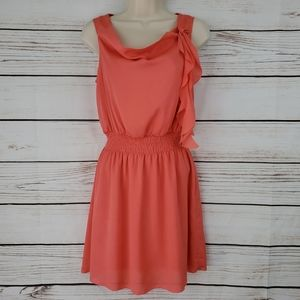 Ya Los Angeles   Sleeveless Coral Ruffle Dress
